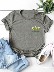 Round Neck Letter And Avocado Print Tee