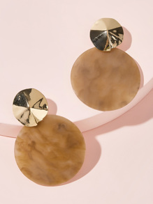 Two Tone Round Drop Earrings 1pair
