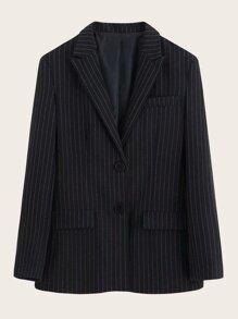 Lapel Collar Single Breasted Striped Blazer