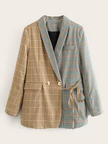 Tartan Plaid Shawl Collar Knot Spliced Blazer