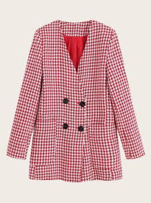 Houndstooth V-neck Double Breasted Blazer