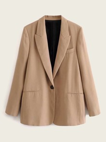 Lapel Collar Single Button Blazer