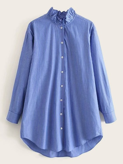 Frill Neck High Low Striped Blouse