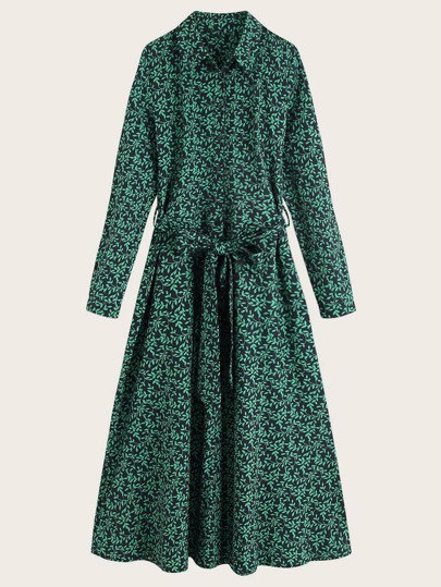 Allover Leaf Print Self Tie Shirt Dress