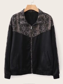 Contrast Snakeskin Panel Zip Up Jacket