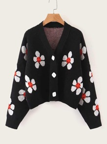 Floral Pattern Button Front Cardigan