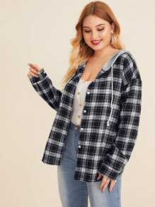 Plus Curved Hem Plaid Contrast Hooded Blouse