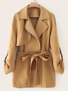 Double Button Self Tie Trench Coat