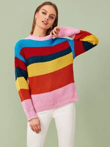Cut And Sew Mock Neck Rainbow Sweater