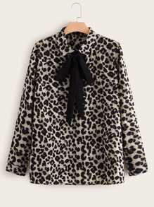 Plus Leopard Print Tie Neck Blouse