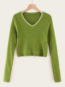 Contrast Binding Rib-knit  Crop Slim Sweater