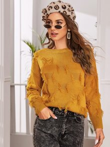 Drop Shoulder Fringe Embellished Sweater