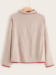 Plus Piping Trim High Neck Sweater