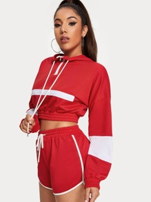 Zip Decoration Hoodie Elastic Hem Crop Sweatshirt