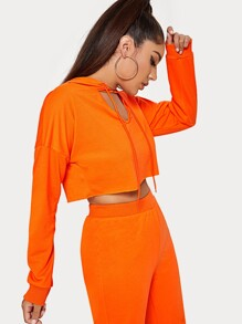 Neon Orange Cut Out Drawstring Hoodie Crop Sweatshirt