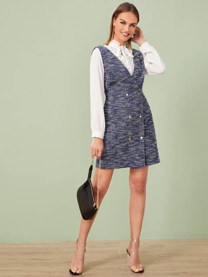 Double Breasted Space Dye Tweed Pinafore Dress
