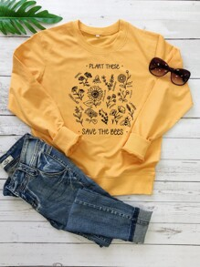 Flower And Letter Print Sweatshirt