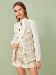 Raw Trim Plaid Tweed Vest Coat With Shorts