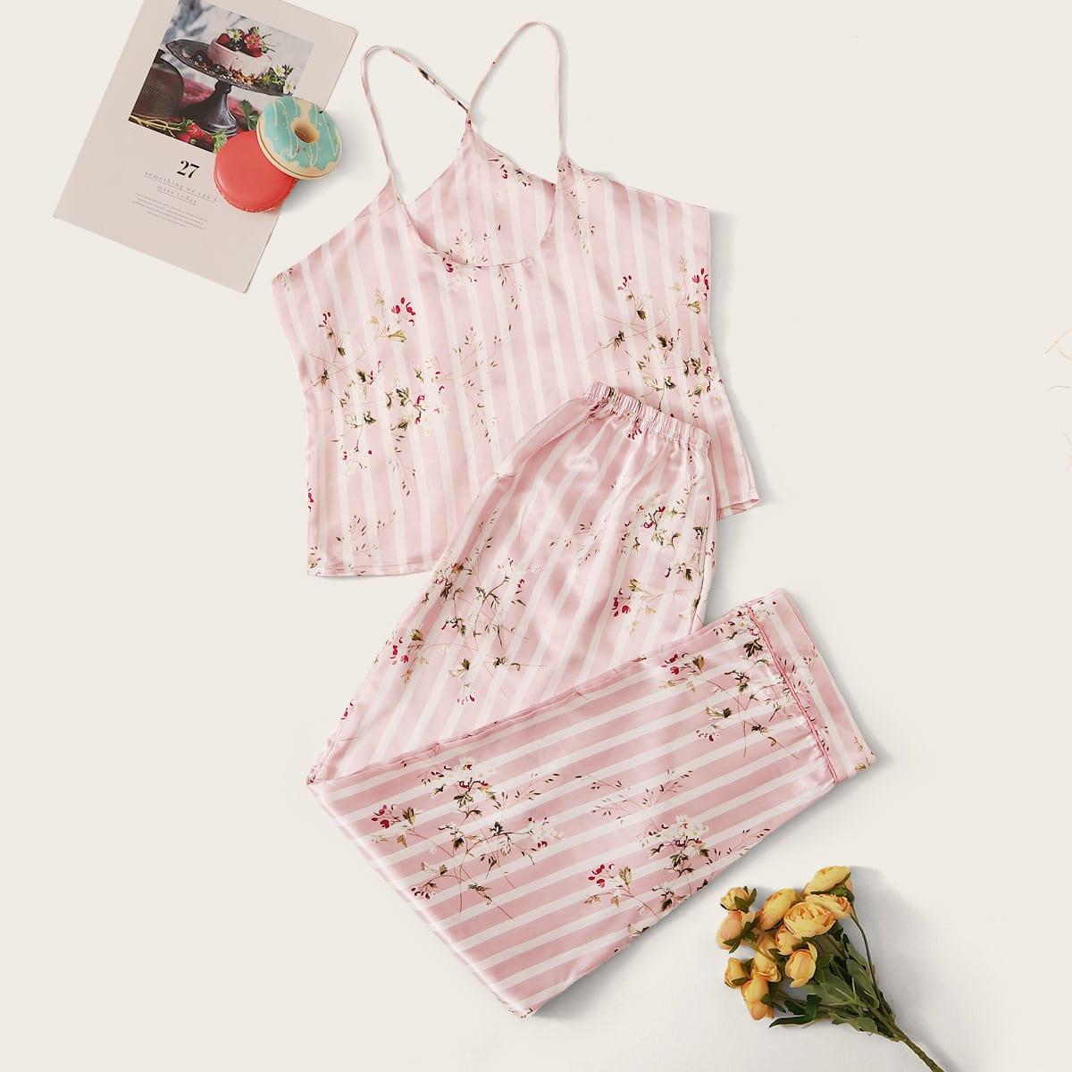 Атласная пижама в полоску с цветочным принтом