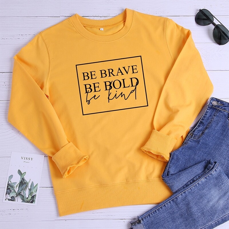 Letter Graphic Crew Neck Sweatshirt, Yellow bright