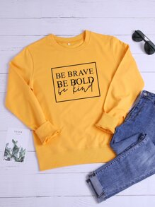 Letter Graphic Crew Neck Sweatshirt