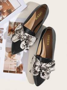 Bow Decor Point Toe Flats