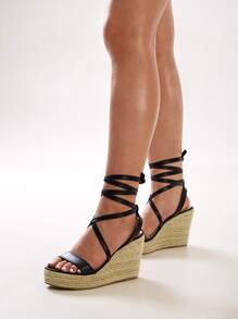 Open Toe Cross Strap Tie Leg Wedges
