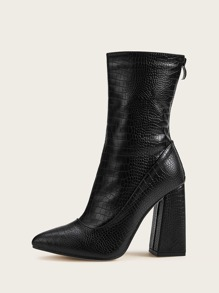 Point Toe Zip Back Croc Embossed Chunky Boots