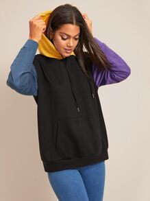 Cut And Sew Kangaroo Pocket Drawstring Hoodie