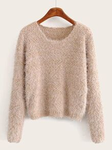 Mohair Round Neck Fuzzy Sweater