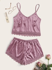 Scalloped Lace Trim Satin Cami With Shorts