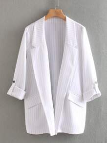 Striped Lapel Neck Roll Tab Sleeve Blazer