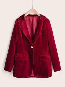 Lapel Neck Button Detail Velvet Blazer
