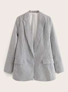 Vertical Stripe Lapel Neck Blazer
