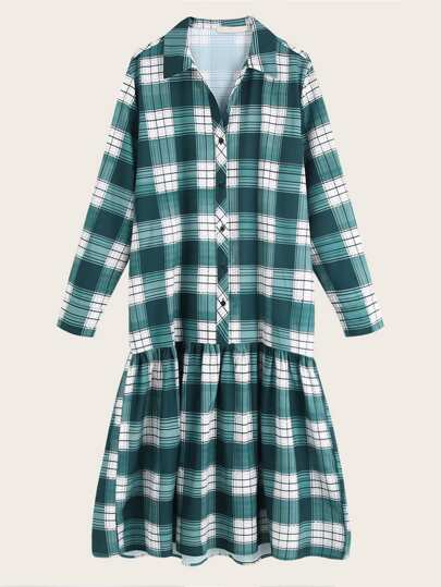 Plaid Print Ruffle Hem Shirt Dress