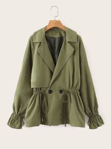 Drawstring Button Detail Flounce Sleeve Trench Coat