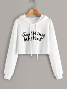 Slogan Graphic Drawstring Crop Hoodie