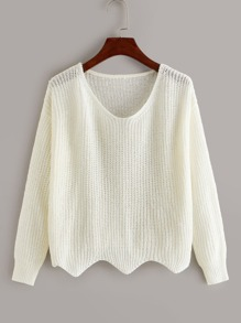 Solid Scallop Trim Drop Shoulder Jumper