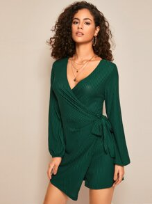 V-neck Wrap Hem Tie Side Ribbed Romper