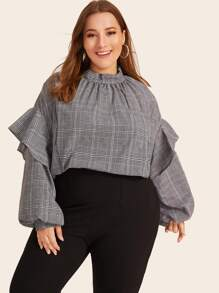 Plus Plaid Mock Neck Ruffle Trim Blouse