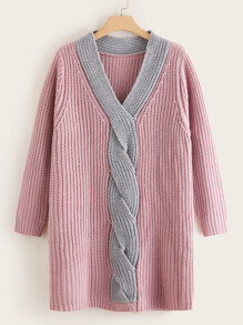 Plus Ribbed Knit V Neck Sweater Dress