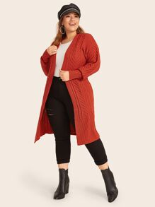 Plus Mix Knit Drop Shoulder Cardigan