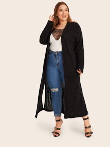 Plus Solid Split Side Maxi Cardigan