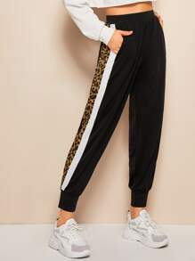 Leopard Print Side Pocket Joggers