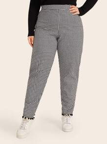 Plus Gingham Print Pom Pom Trim Pants