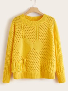 Plus Pointelle Knit Fringe Detail Sweater