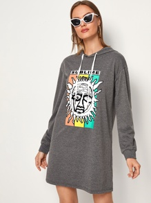 Sun Graphic Drop Shoulder Hooded Sweatshirt Dress