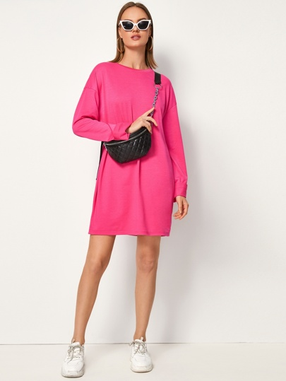 Neon Pink Drop Shoulder Sweatshirt Dress