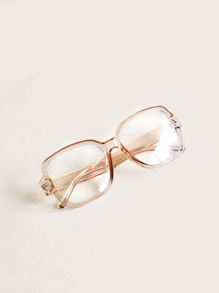 Transparent Frame Glasses With Case