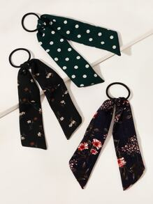Flower & Polka Dot Pattern Scrunchie Scarf 3pcs